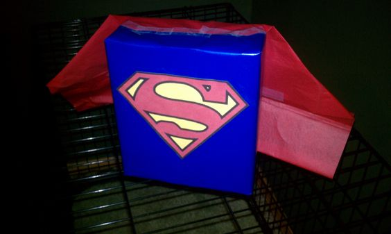 Tanner's Superman Valentine's day box...the slit will be on the top in front of the cape...just haven't done that part yet....We also made the super hero sucker templates that we found on here.