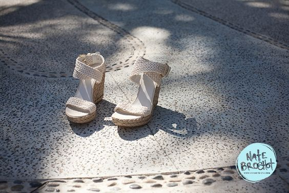 Beach shoes for a blue and yellow destination wedding in Sayulita, Mexico, featured on Style Me Pretty