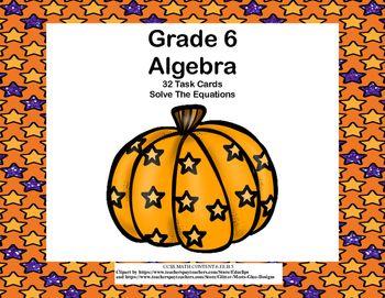 math worksheet : algebra solving equations using all 4 operations grade 6 32 cards  : Solving Equations Using Multiplication And Division Worksheets