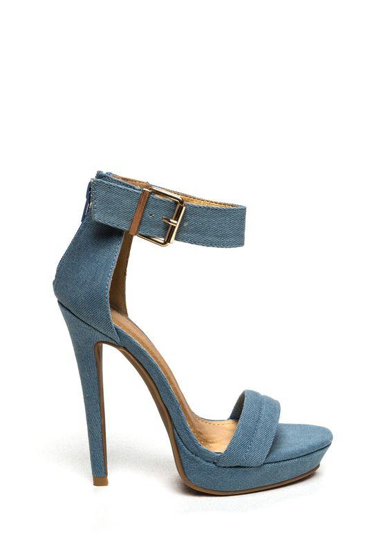 Stay High Denim Heels BLUE - GoJane.com