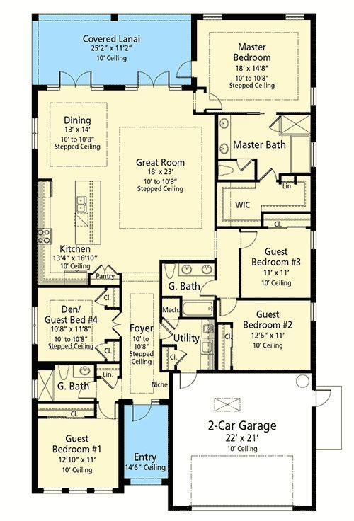 Plan 33172zr One Story House Plan With 4 Or 5 Bedrooms House Plans One Story Southern House Plans Bedroom House Plans
