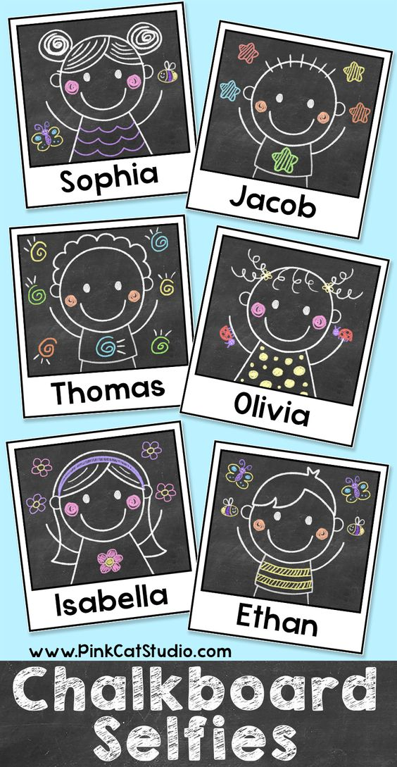 Chalkboard Theme Kids Selfie Polaroid Labels: Use them for name tags, locker labels, supply labels or anything else you can think of for your classroom.