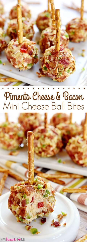 Pimento Cheese and Bacon Mini Cheese Ball Bites ~ mini cheese balls of ...