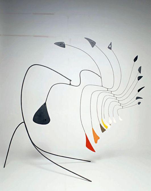 Alexander Calder.-KINETISCHE KUNST. Men kan de kinetische kunstwerken indelen in bewegende en beweegbare werken. Bij de bewegende werken heeft de beweging in het kunstwerk zelf plaats, hetzij door middel van wind of water, hetzij door een motor of een magneet. Bij de beweegbare werken ontstaat de beweging door een ingreep van de beschouwer.