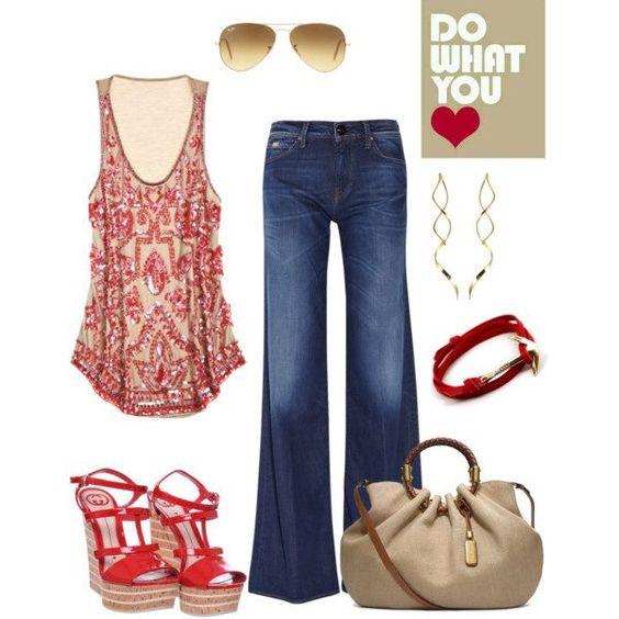 jean y top en estampado rojo y nude