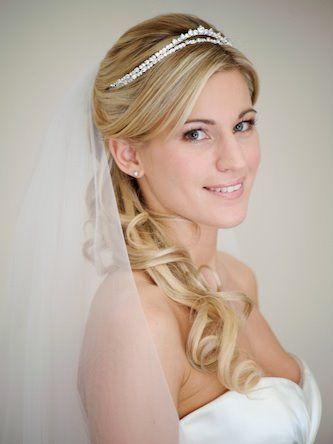 wedding hair with tiara and veil