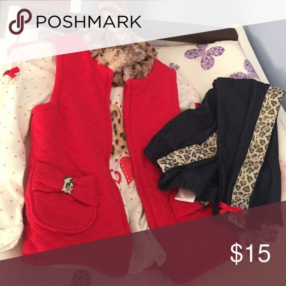 Nannette matching set Ted and leopard fur collar vest with tee and jeggings. Matching Sets