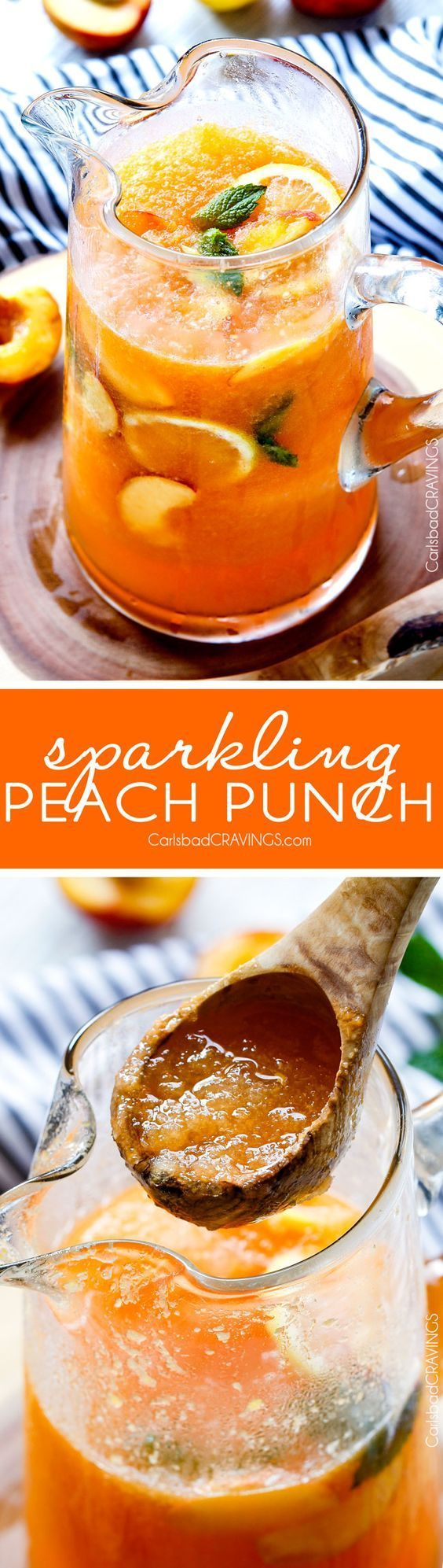 Sparkling Peach Punch (non alcoholic) Party Drink Recipe via Carlsbad Cravings - vibrant, refreshing, flavorful and the perfect amount of slush! I love making this for baby/bridal showers and potlucks and everyone else loves it too! The BEST Easy Non-Alcoholic Drinks Recipes - Creative Mocktails and Family Friendly, Alcohol-Free, Big Batch Party Beverages for a Crowd! #mocktails #virgindrinks #alcoholfreedrinks #nonalcoholicdrinks #familyfriendlydrinks #partypunch #partydrinks #newyearseve #partydrinkrecipes