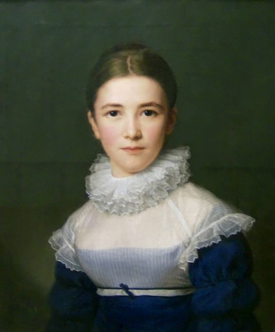 Painting C. 1802. [Looks much later to me, like c. 1817. Regardless, it's a gorgeous example of the type of Regency chemisette or tucker that is worn over a bodice instead of under.]: