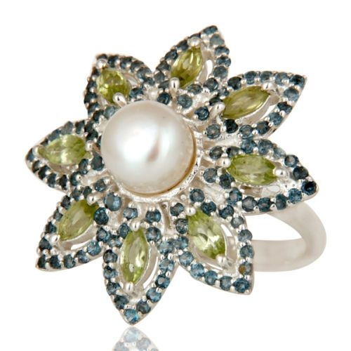 Pearl-Peridot-London-Blue-Topaz-925-Sterling-Silver-Flower-Design-Ring-Jewelry