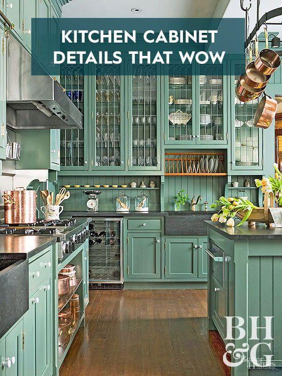 Kitchen Cabinet Details That Wow In 2020 Green Kitchen Cabinets