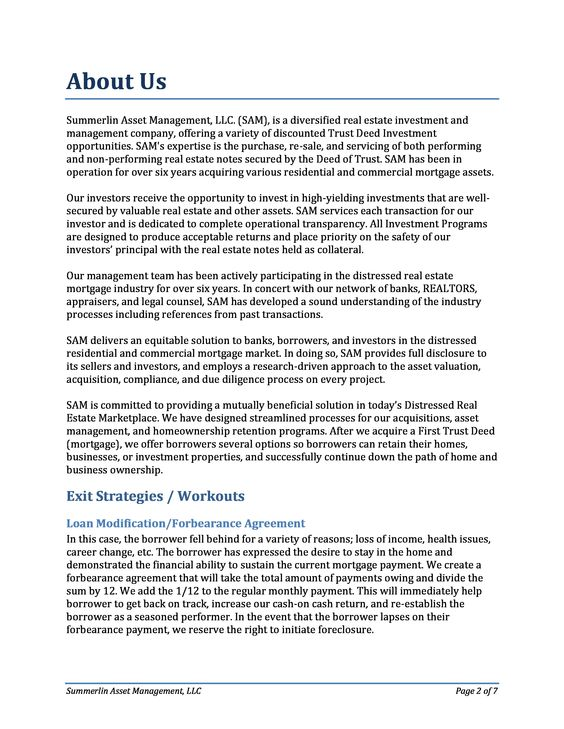 Company profile - Page 5 Summerlin Asset Management Company - investment management agreement