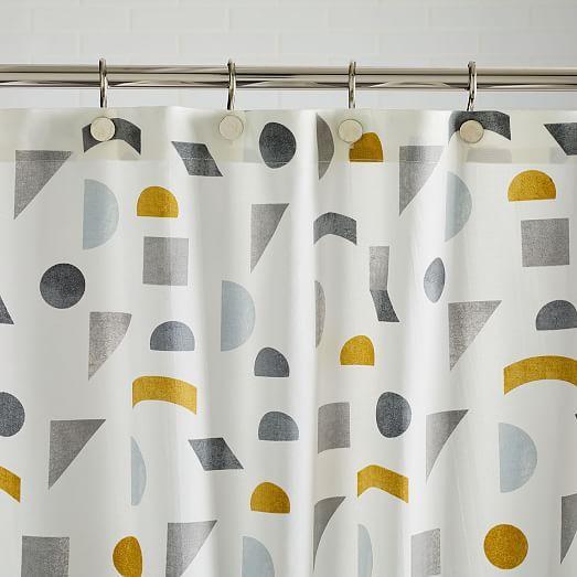 Organic Mid Century Geo Shower Curtain Modern Shower Curtains