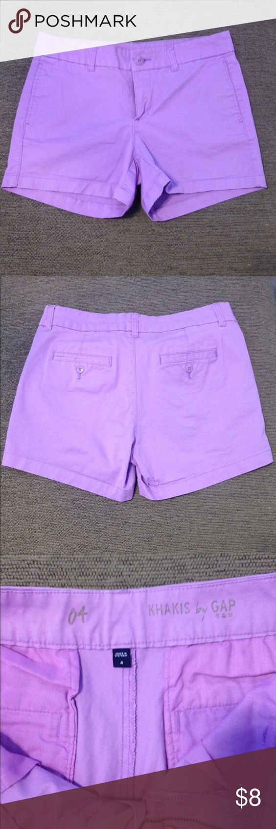 Gap Khaki Shorts Purple khaki shorts in very good condition. Super comfortable, modest length, and a pop of color to any outfit. Have front and back pockets. No stains, holes, or major fading of color. Look close to brand new still.                  Bundle and Save 25% GAP Shorts