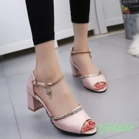Women Peep Toe Ankle Strappy Chunky Kitten Heel Sandal Shoes ...