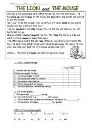 Printables The Lion And The Mouse Worksheets english worksheet fable the lion and mouse 2nd grade mouse