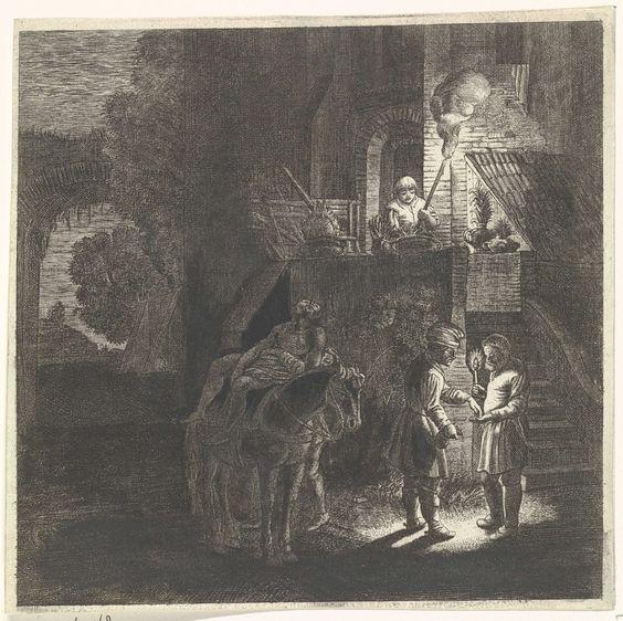 Jan van de Velde (II) | De barmhartige Samaritaan betaalt de herbergier, Jan van de Velde (II), Anonymous, 1620 - 1670 | De barmhartige Samaritaan arriveert met de gewonde reiziger bij een herberg en betaalt de herbergier. De laatste heeft een brandende kaars in de hand. In het midden wordt de gewonde reiziger van een paard afgetild. Op de trap van de herberg staat een bediende met een toorts. Scène uit het bijbelverhaal De barmnhartige Samaritaan (Luc.10: 30-37). Tevens voorstellende de…