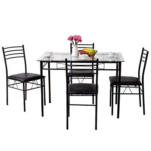 Svitlife 5 Pcs Dining Glass Top Table 4 Upholstered Chairs