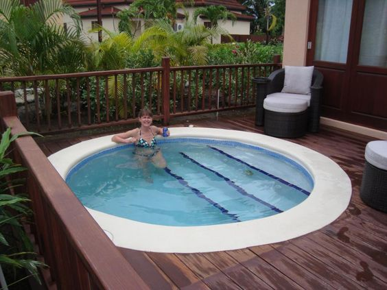 If you want to get a great quality pool, this type of plunge pool is great. It's only large enough for a couple of people but it's deep enough that you can relax and it has built in stairs.