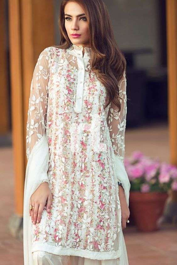 Stitching Styles Of Pakistani Dresses White Embroidered Shirt