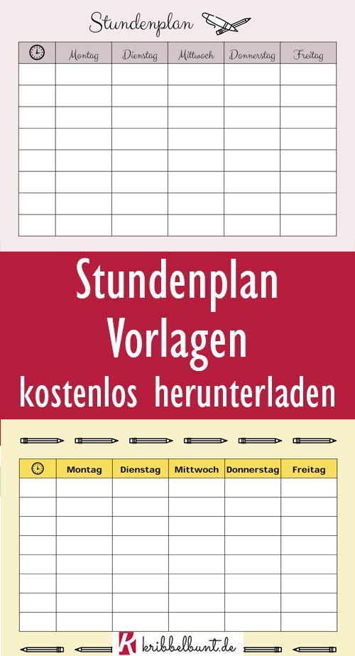 Stundenplan Vorlagen Word Zum Download Ausdrucken Kostenlos 5