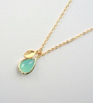 Blue Ice Pendant with gold leaf accent, necklace, mother, wife, sister, daughter, bridesmaid gift, birthday, wedding jewelry, fall fashion,