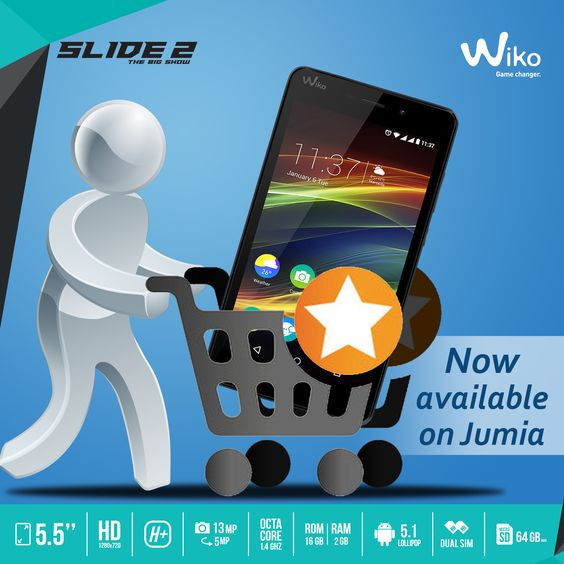 "The Wiko Slide 2 (5.5"", HD, octa core, 1.4ghz,13 MP back camera & 5 MP front camera, dual sim, 16 GB ROM & 2GB RAM) is now Available on Jumia. Get yours here: http://bit.ly/Slide2-Jumia."