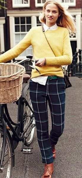 I love the yellow sweater with the window pane pant