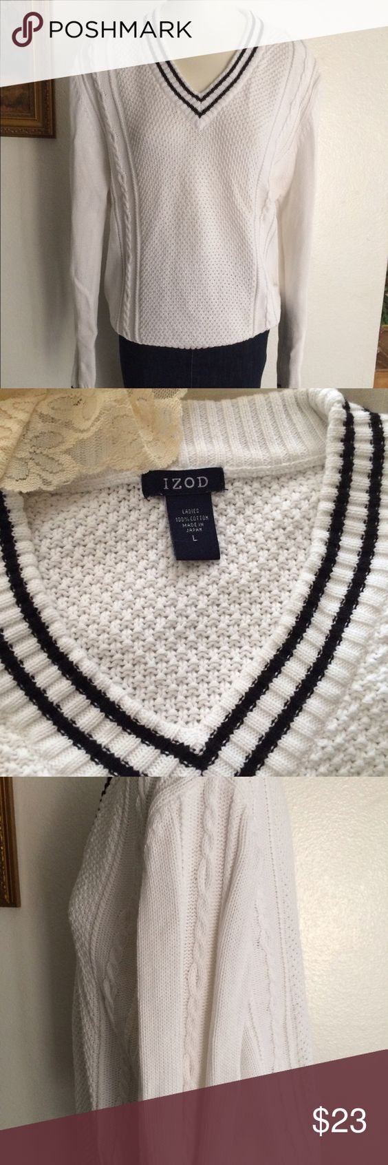 IZOD WOMENS SWEATER IZOD Womens sweater like new , gently used. Warm , clean and classy sweater . Cute with jeans , shorts almost anything! IZOD Sweaters V-Necks