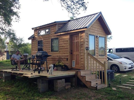 Hunting Cabin Tiny House On Wheels And Rocky Mountains On