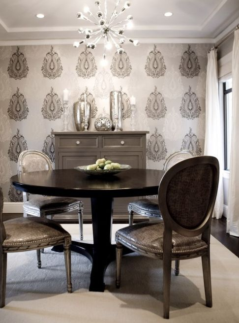 Gray dining room design with gray walls paint color romo for Grey silver wallpaper living room