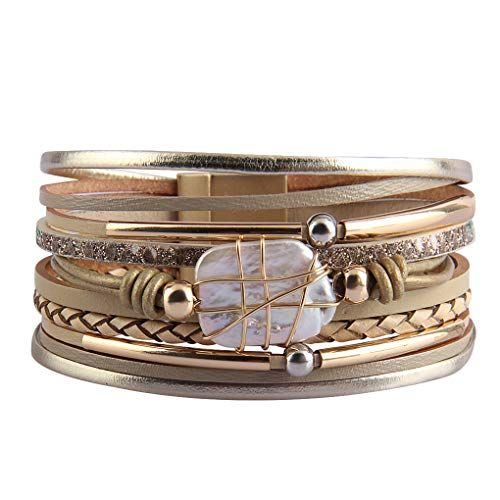 Wife GelConnie Tree of Life Leather Cuff Bracelet Magnetic Multi Strand Wrap Bracelet Bohemian Jewelry for Women Sister