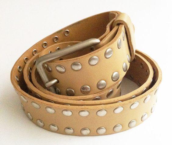 Topshop size Large L beige studded reconstituted leather belt 111cm long