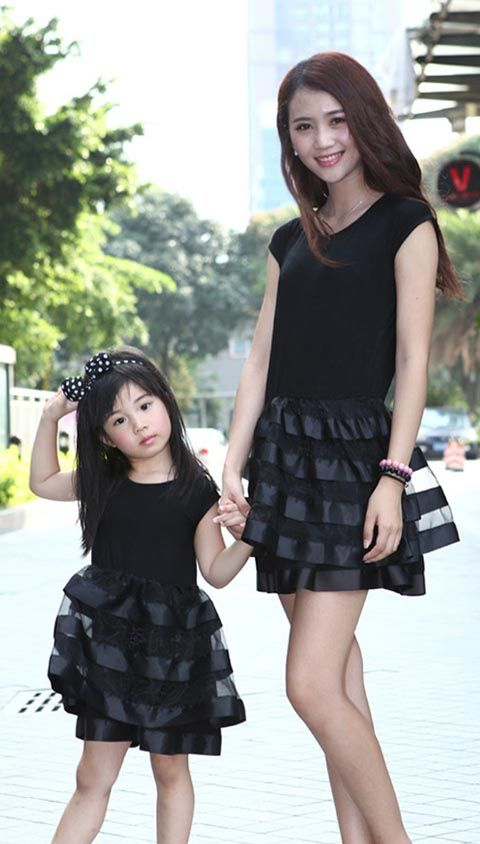 classic black dinner dress mom daughter matching outfit