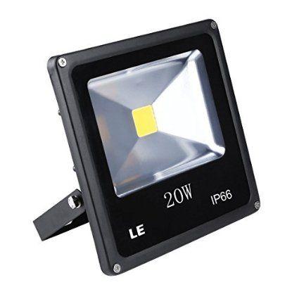 LE Foco proyector LED 20W para exteriores, equivalencia halógena 200W, blanco diurno 6000K, 1500lm, resistente al agua IP66, luz amplia, luz de seguridad