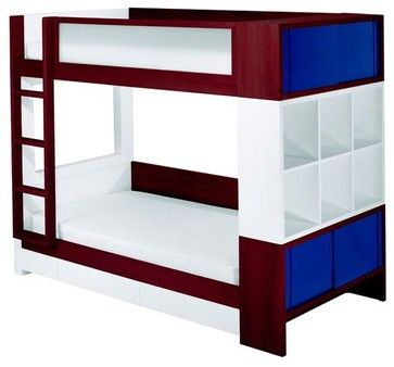 Duet Bunk Bed Navy Cabinet w/ Dark Frame & Trundle modern kids beds