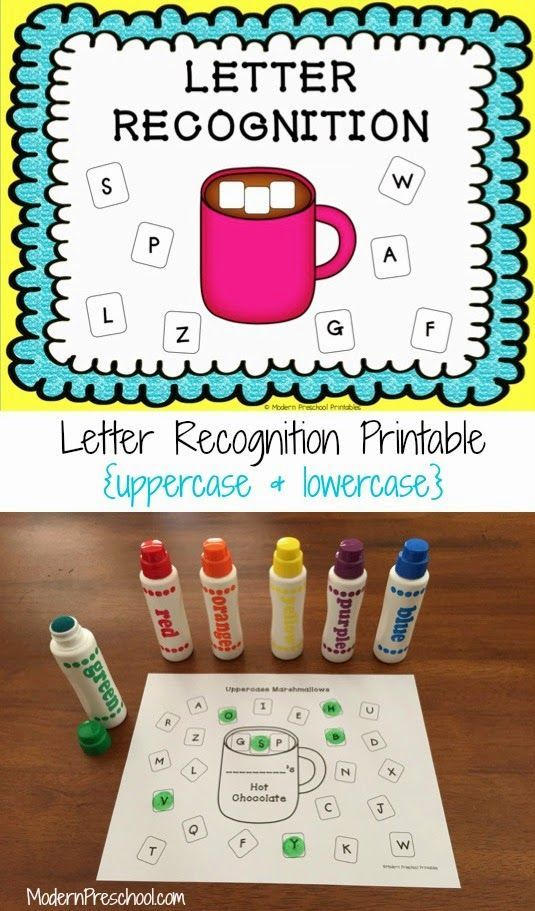 FREE printable hot chocolate and marshmallow letter recognition activity that includes uppercase and lowercase letters. Use as an activity or assessment.