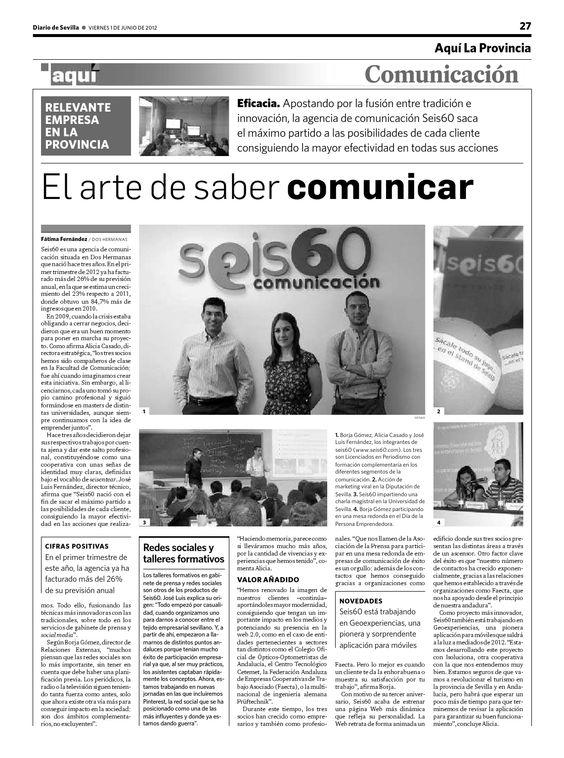 Hoy 1 de junio, reportaje en Diario de Sevilla a página completa de Seis60!