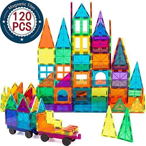 Amazon Com Magnet Building Tiles Kids Magnet Toys 120 Pcs Magnet Blocks 3d Magnetic Building Tiles Set With 2 Wheels Educational Toys For Kids Children Toys