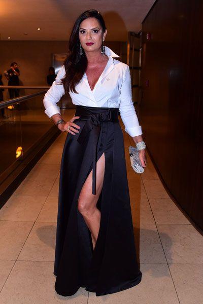 Luiza Brunet em festa em São Paulo: