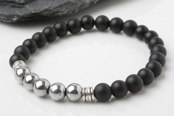 Hematite bracelet, Matt Onyx bead bracelet,  stone bracelet, yoga bracelet…