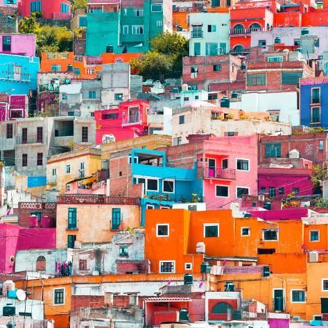 Photographic Print: ¡Viva Mexico! Square Collection - Guanajuato Colorful Cityscape XIX by Philippe Hugonnard : 16x16in