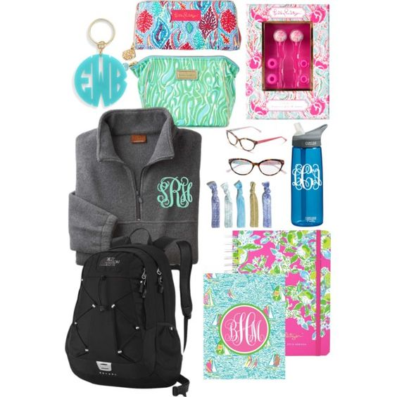 Back to school Lilly Pulitzer essentials! by gewasulko on Polyvore featuring polyvore, fashion, style, Lilly Pulitzer, The North Face, Moon and Lola and CamelBak: