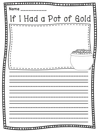pot of gold writing paper Shapebook: pot of gold (elementary) 1 of 1 if i  lined writing paper in a pot of gold outline with a writing prompt.