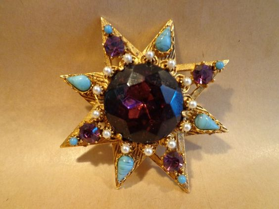 GREAT VINTAGE FLORENZA JEWELED STAR FLOWER BROOCH..pendant PIN !!