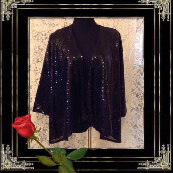 Slinky Brand top New.  All over sequined open front black jacket  3/4 Sleeves beautiful , Lined Slinky Brand Tops