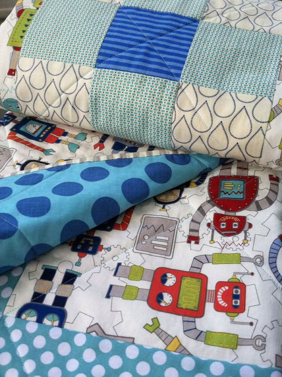 Modern baby quilt for baby boy / robot print & by quiltstudio444