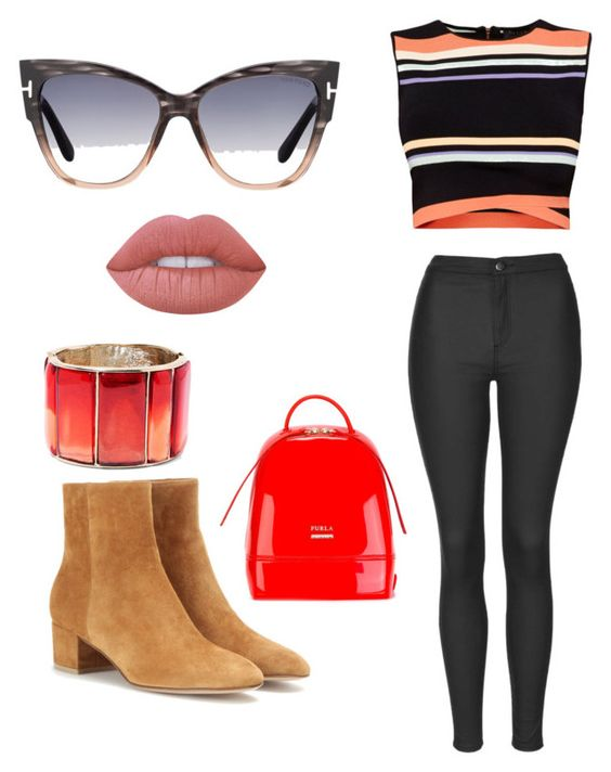 """""""Untitled #44"""" by sydney-lucidi on Polyvore featuring Tom Ford, Ted Baker, Topshop, Gianvito Rossi, Furla, Oscar de la Renta and Lime Crime"""
