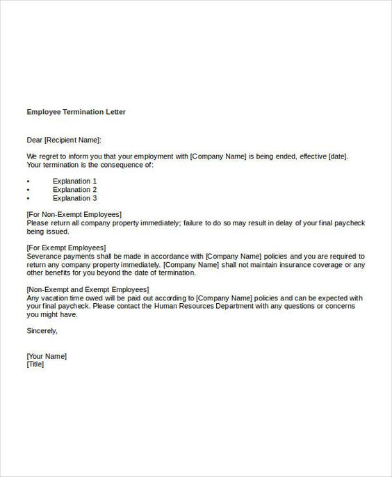 Free Termination Letter Templates Word Pdf Documents Warning For
