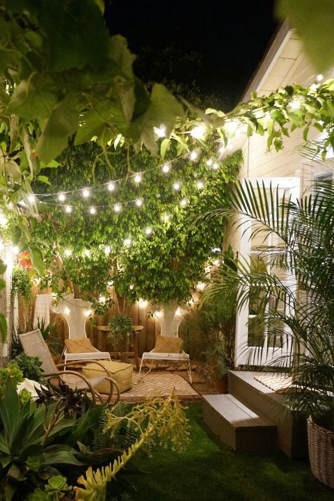 tiny patio with string lights